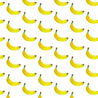 Acuarela de patrones sin fisuras con plátanos. dibujado a mano tropical. ilustración de frutas de verano.