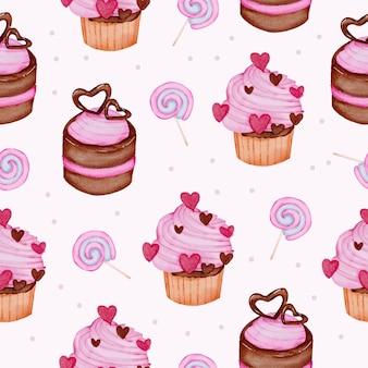 Acuarela de patrones sin fisuras con postre y caramelo, elemento de concepto de san valentín acuarela aislado encantadores corazones rojo-rosa románticos para la decoración, ilustración.
