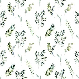Acuarela de patrones sin fisuras de ramas verdes