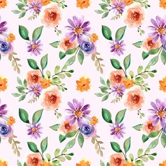 Acuarela de patrones sin fisuras con rosas melocotón y margarita violeta