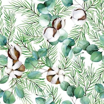 Acuarela de patrones sin fisuras sobre el tema del invierno año nuevo navidad algodón flores eucalipto