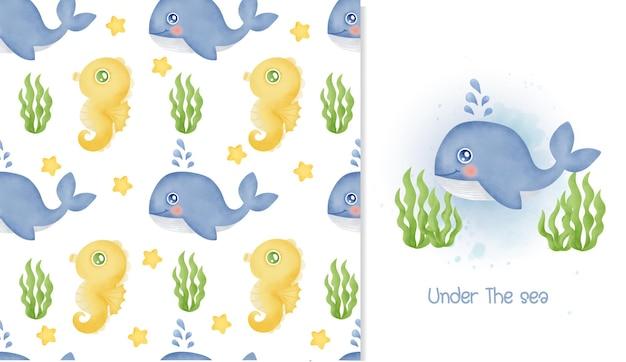 Acuarela de patrones sin fisuras y tarjeta de felicitación con ballena azul y caballito de mar.