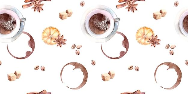 Acuarela de patrones sin fisuras con taza de café, azúcar, canela y granos de café.