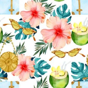 Acuarela de patrones sin fisuras de vacaciones tropicales
