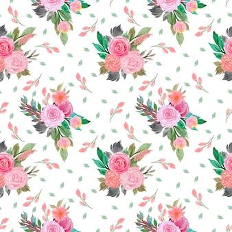 Acuarela de patrones florales sin fisuras con flores.