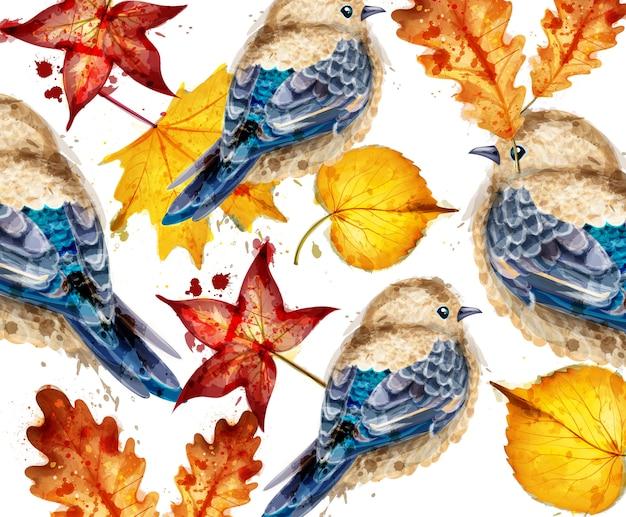 Acuarela pequeñas aves y hojas.