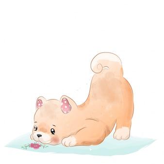 Acuarela de perro niño
