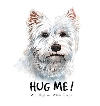 Acuarela de perro terrier blanco para imprimir.