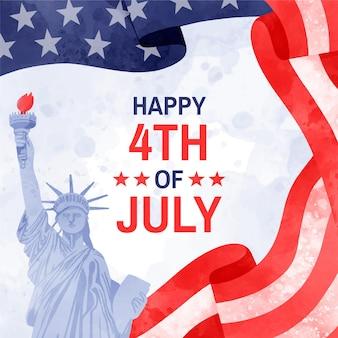 Acuarela pintada a mano el 4 de julio - ilustración del día de la independencia