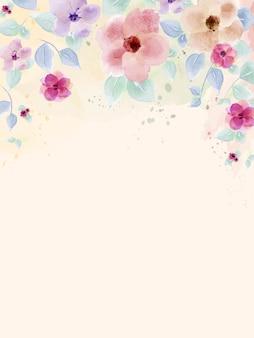 Acuarela pintada a mano con coloridas flores y hojas