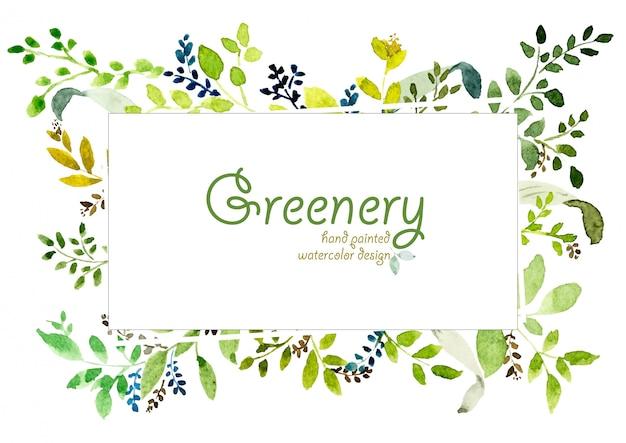 Acuarela pintada a mano de diseño verde.