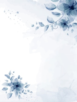 Acuarela pintada a mano con flor azul