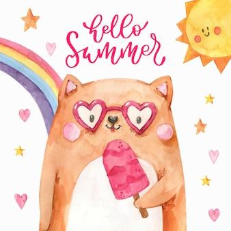 Acuarela pintada a mano hola ilustración de verano