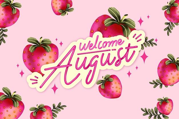 Acuarela pintada a mano con letras de agosto con frutas.