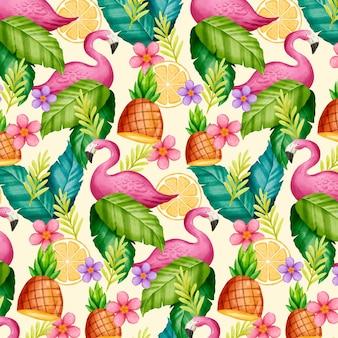 Acuarela pintada a mano patrón tropical de verano