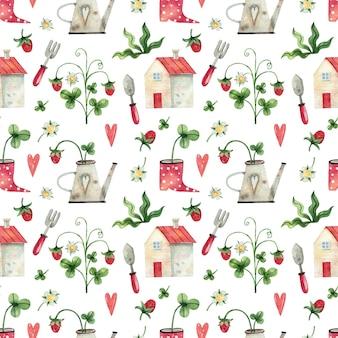 Acuarela pintada a mano de patrones sin fisuras con bayas, hierbas y herramientas de jardín de la casa
