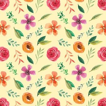 Acuarela pintada a mano de patrones sin fisuras para el diseño de superficies de primavera y verano
