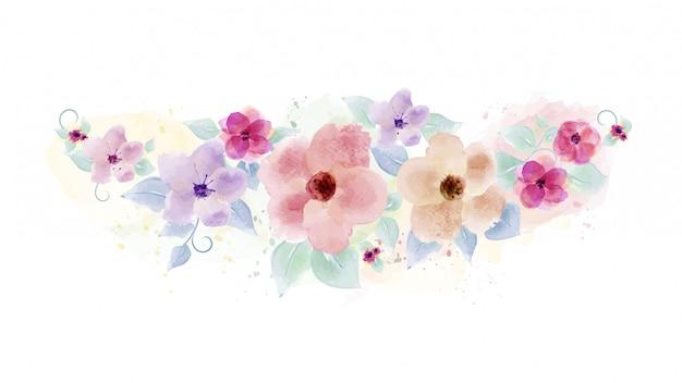 Acuarela pintada a mano con ramo de flores
