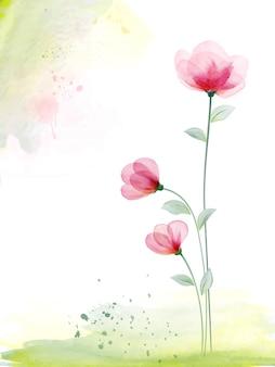 Acuarela pintada a mano con rosa floral