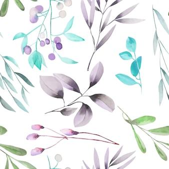 Acuarela plantas y ramas de patrones sin fisuras