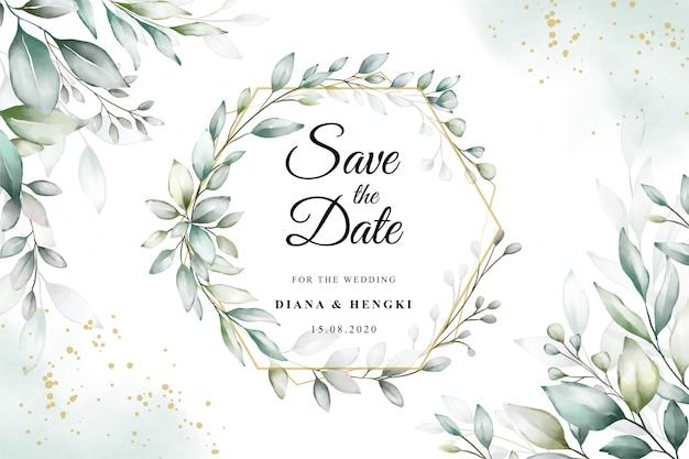 Acuarela en plantilla de tarjeta de boda con vegetación elegante