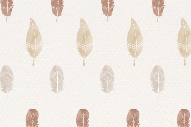 Acuarela pluma de patrones sin fisuras estilo bohemio