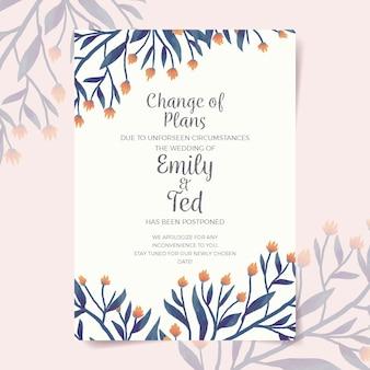 Acuarela pospuesta diseño de tarjeta de boda