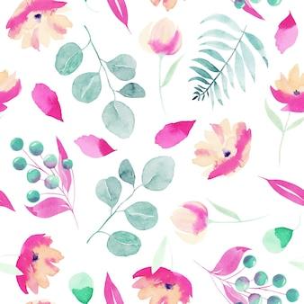 Acuarela primavera rosa flores silvestres, bayas, ramas de eucalipto y hojas de patrones sin fisuras