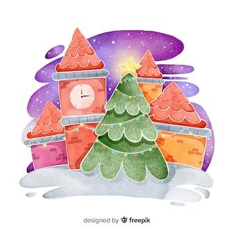 Acuarela pueblo de navidad con árbol