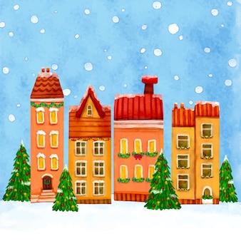 Acuarela pueblo de navidad