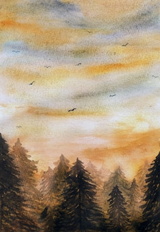 Acuarela puesta de sol en el fondo del bosque