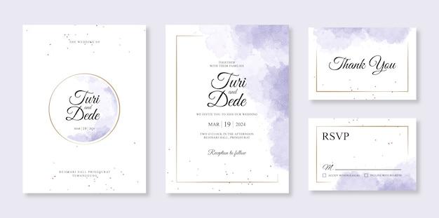 Acuarela púrpura splash para una hermosa plantilla de invitación de invitación de boda