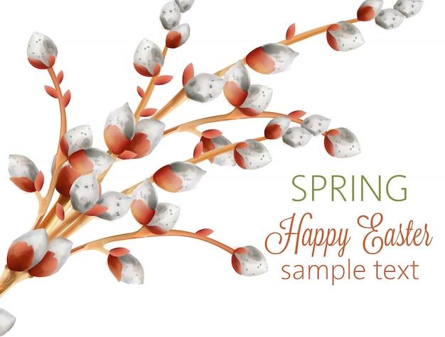 Acuarela rama de amentos blancos. feliz pascua primavera composición