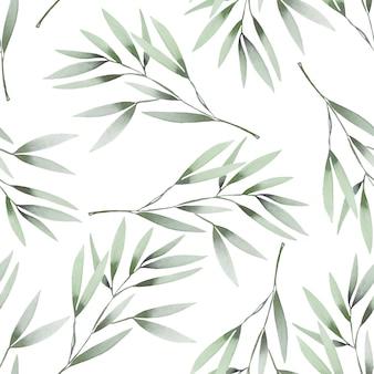 Acuarela ramas verdes de patrones sin fisuras