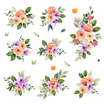 Acuarela ramo floral peonía rosas primavera