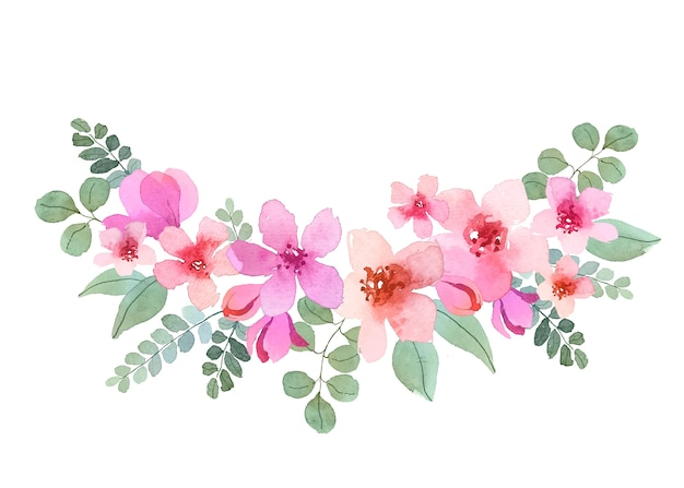 Acuarela ramo de flores hermosas