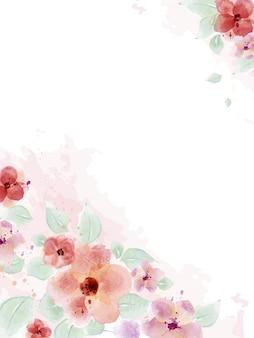 Acuarela con ramo de flores y hojas