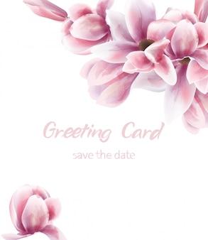 Acuarela de ramo de lirio rosa. el azul deja una delicada decoración. cartel rústico boho de provenza