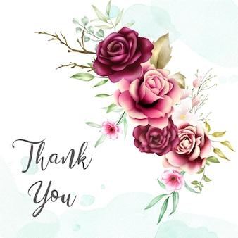 Acuarela ramo de rosas fondo con mensaje de agradecimiento