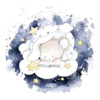 Acuarela ratoncito leyendo en la nube