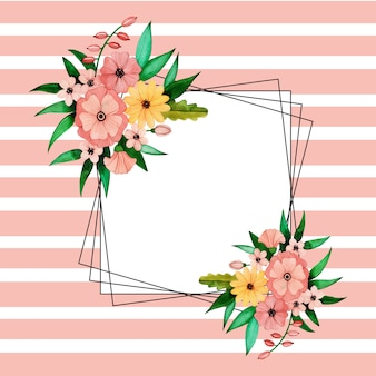 Acuarela rayas florales marcos de alambre