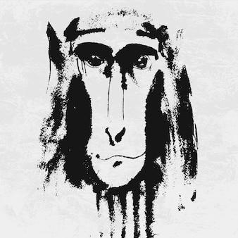 Acuarela retrato de mono peludo gris.