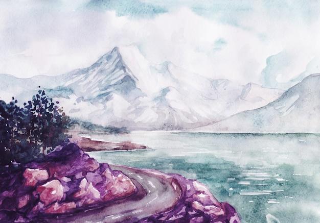 Acuarela río y montañas naturaleza paisaje