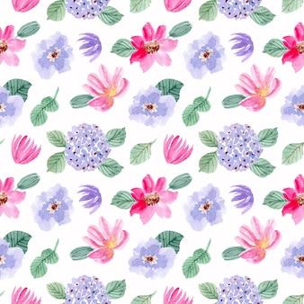Acuarela rosa lila flor de patrones sin fisuras