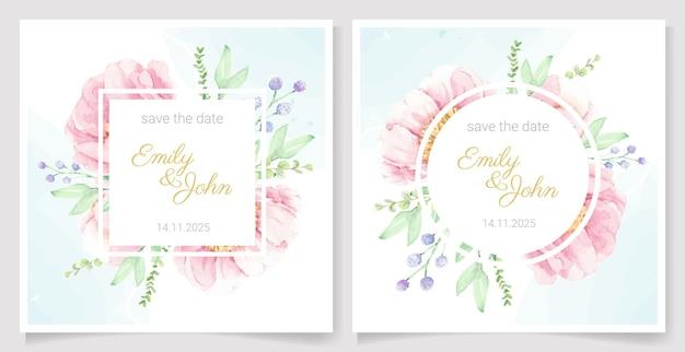 Acuarela rosa peonía flor ramo guirnalda marco banner o colección de plantillas de tarjeta de invitación de boda