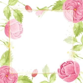 Acuarela rosa rosa inglesa con marco cuadrado de lujo dorado