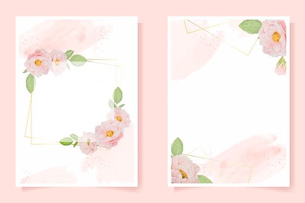 Acuarela rosa rosa inglesa con marco dorado sobre fondo rosa splash colección de plantillas de tarjetas de invitación de boda o cumpleaños