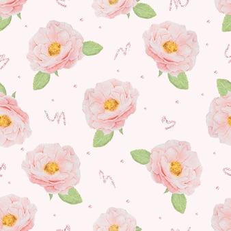 Acuarela rosa rosa inglesa con patrón transparente de oro rosa brillo para papel o tela