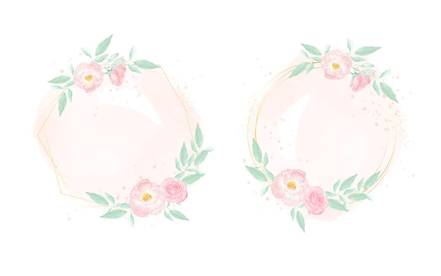 Acuarela rosa salvaje con corona de marco dorado en la colección de fondo splash