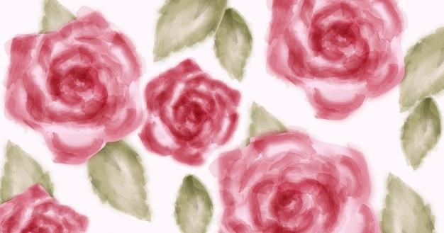 Acuarela rosas rosadas con brillo dorado.